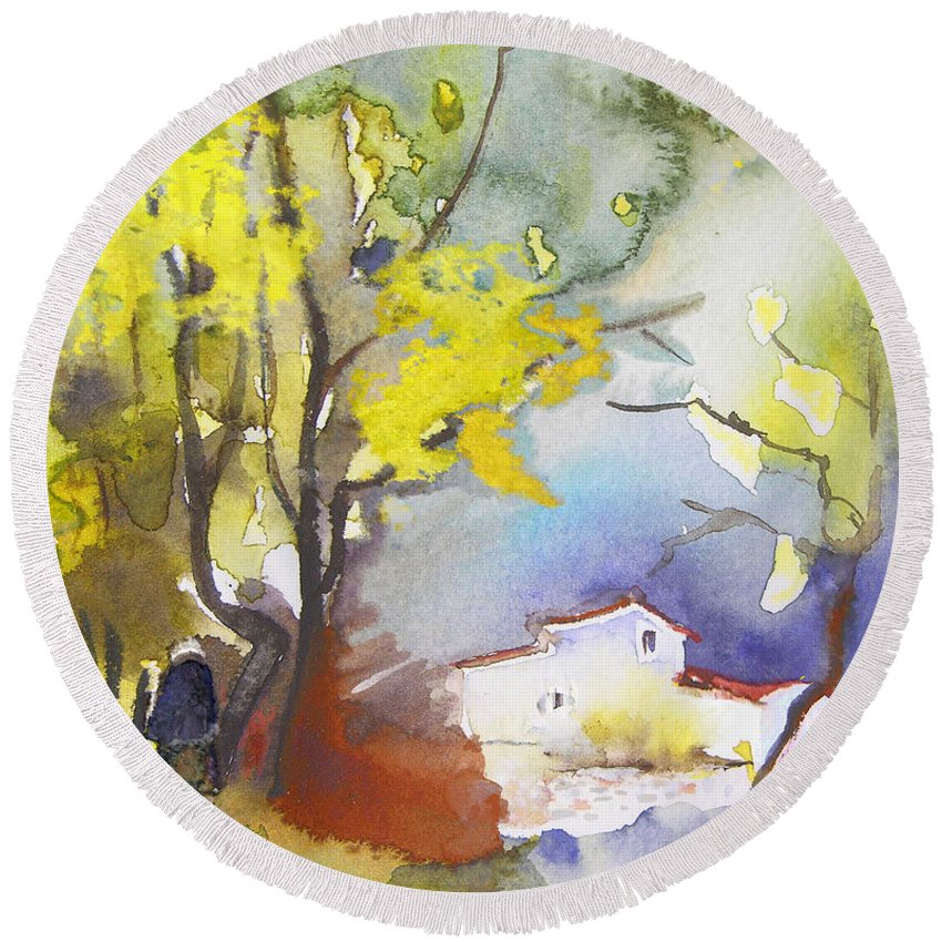 Watercolour Round Beach Towel featuring the painting Early Morning 09 by Miki De Goodaboom