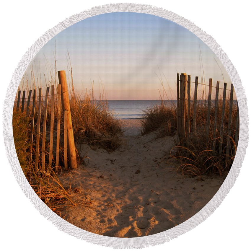 Beach Scene Round Beach Towel featuring the photograph Early Morning At Myrtle Beach Sc by Susanne Van Hulst