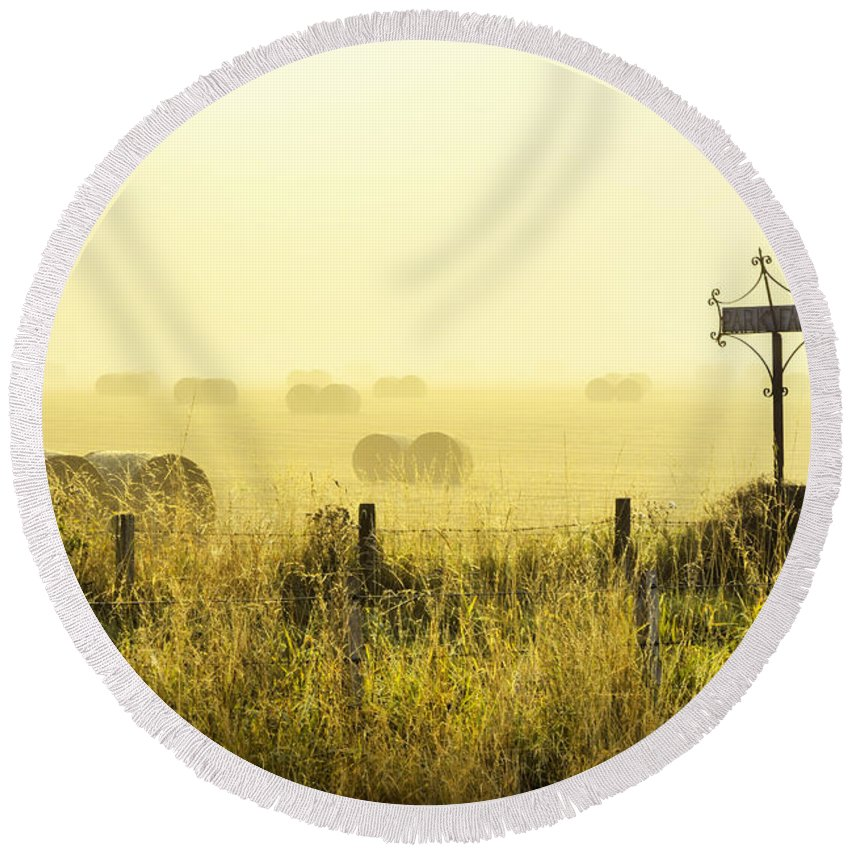 Sony Round Beach Towel featuring the photograph Early Morning At The Farm by Jeremy Lavender Photography