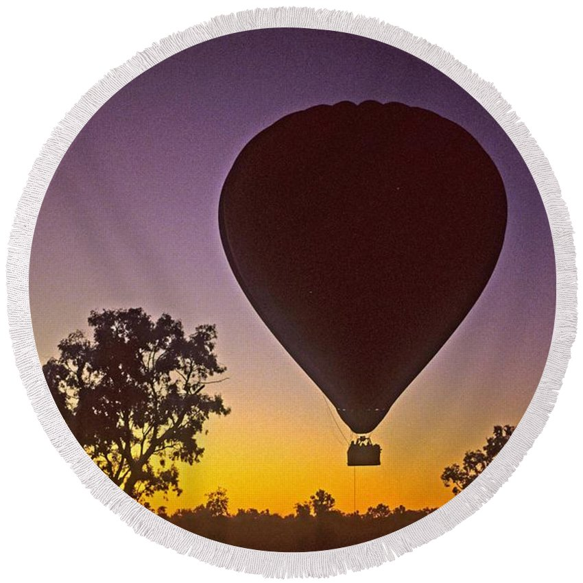 Balloon Round Beach Towel featuring the photograph Early Morning Balloon Ride by Gary Wonning