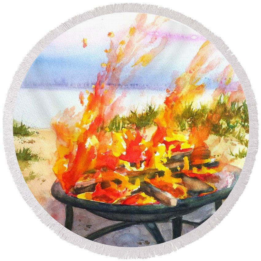 Beach Bonfire Round Beach Towel featuring the painting Early Morning Beach Bonfire by Carlin Blahnik CarlinArtWatercolor
