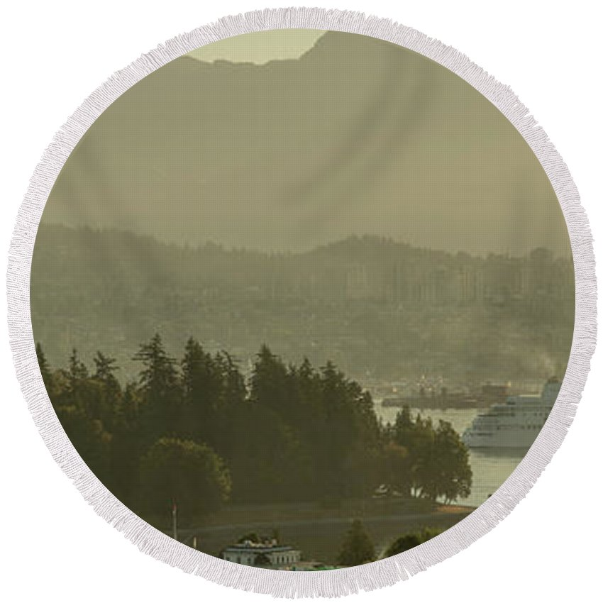 British Columbia Round Beach Towel featuring the photograph Early Morning Cruise Ship Arrival by Ross G Strachan