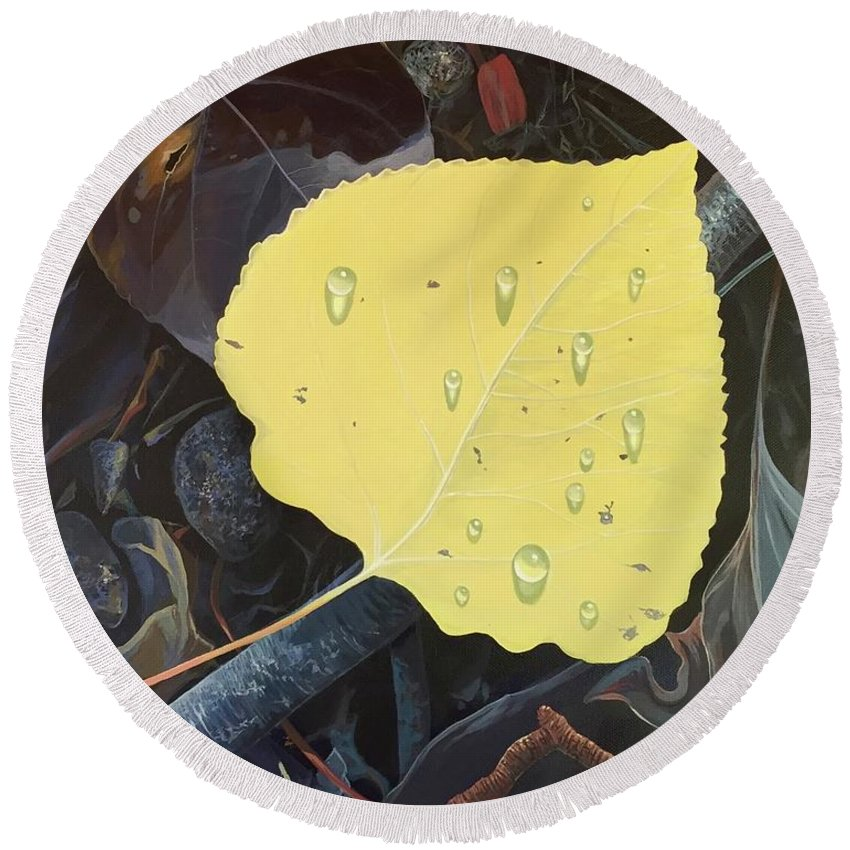 Aspen Round Beach Towel featuring the painting Early Morning Dew by Hunter Jay