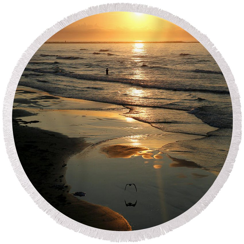 Water Round Beach Towel featuring the photograph Early Morning Fishing by Marilyn Hunt