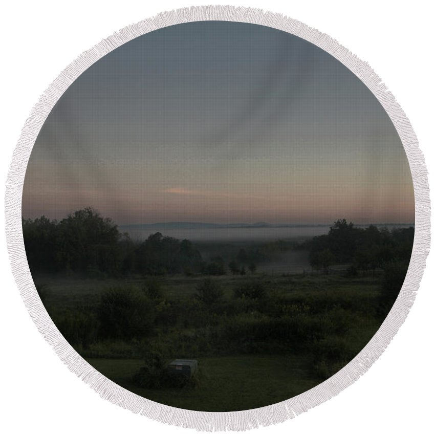Landscapes Round Beach Towel featuring the photograph Early Morning Mist by Guy Ciarcia