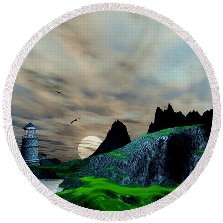 Round Beach Towel featuring the digital art Early Morning Ocean Lighthouse Scene by John Junek