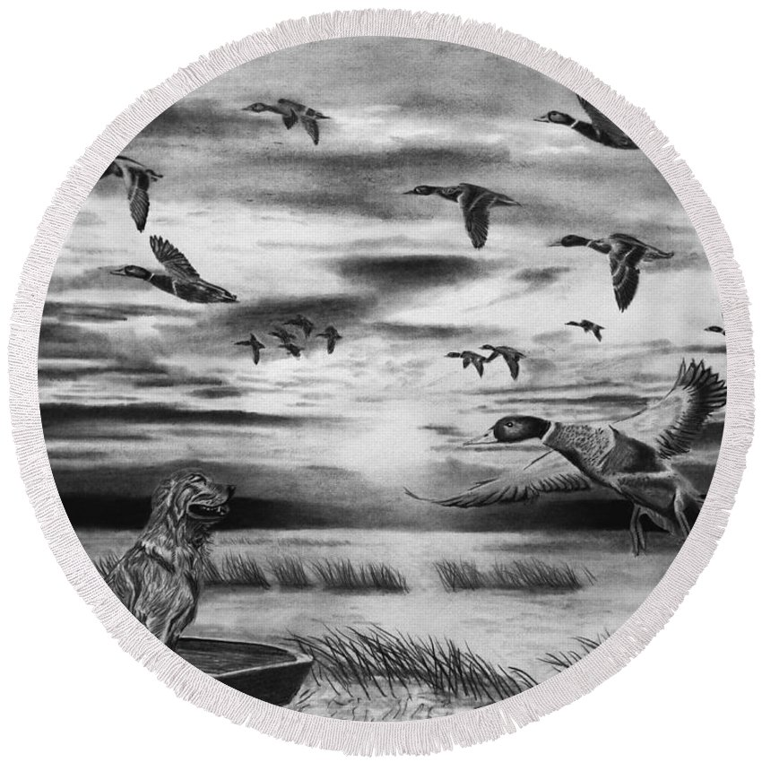 Early Morning Round Beach Towel featuring the drawing Early Morning by Peter Piatt