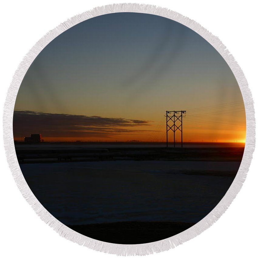 Sunrise Round Beach Towel featuring the photograph Early Morning Sunrise by Anthony Jones