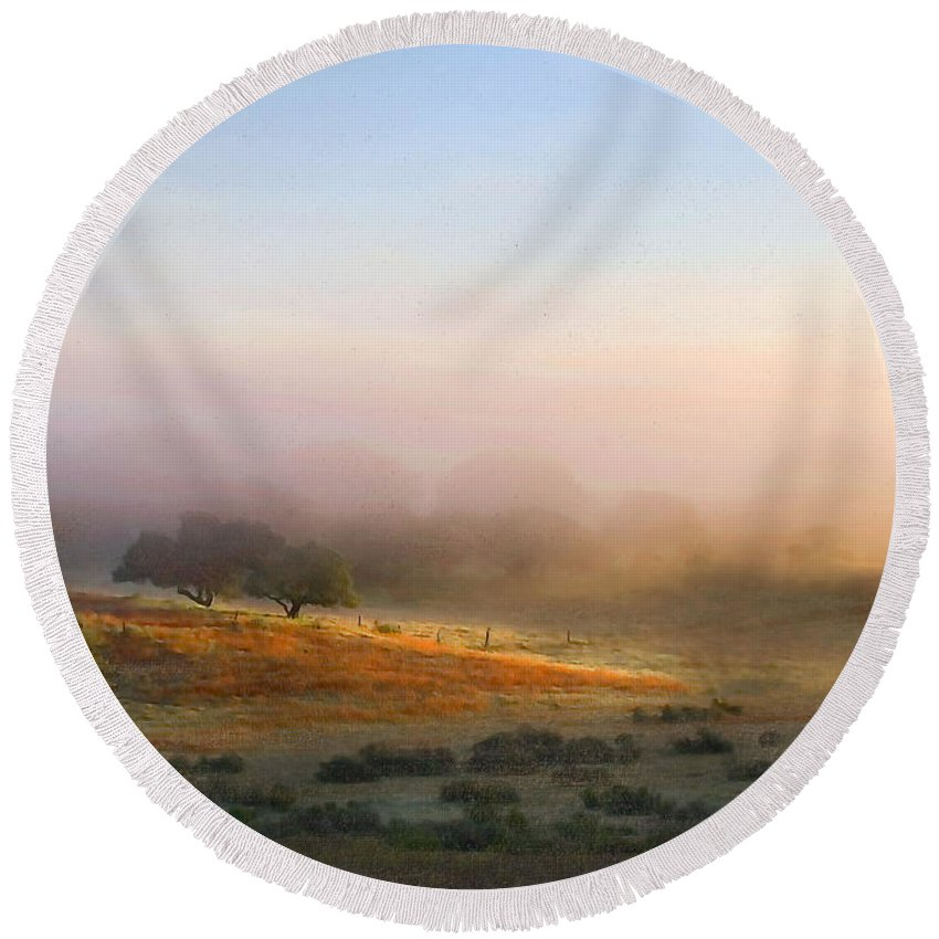 Landscape Round Beach Towel featuring the photograph Early Morning Sunrise by Sharon Foster