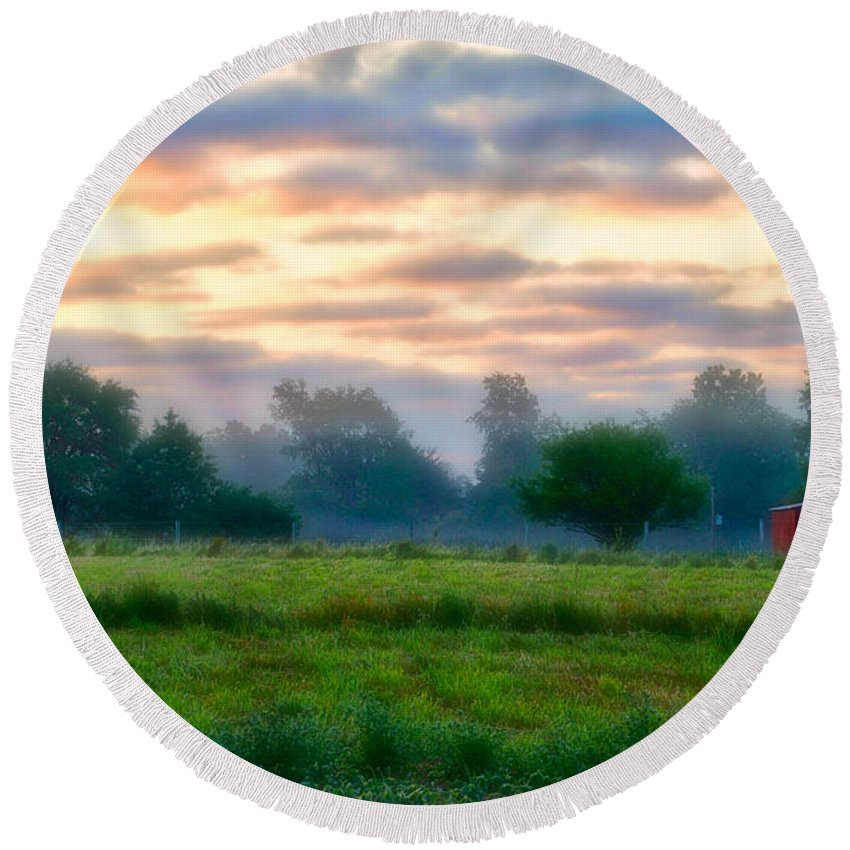 Agriculture Round Beach Towel featuring the photograph Early Morning Warmth by Thomas Woolworth