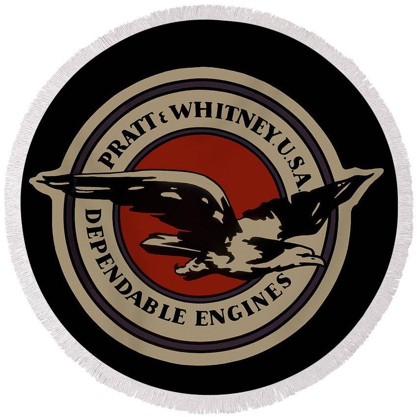 Pratt & Whitney Round Beach Towel featuring the digital art Early Pratt And Whitney Company Logo by Daniel Hagerman