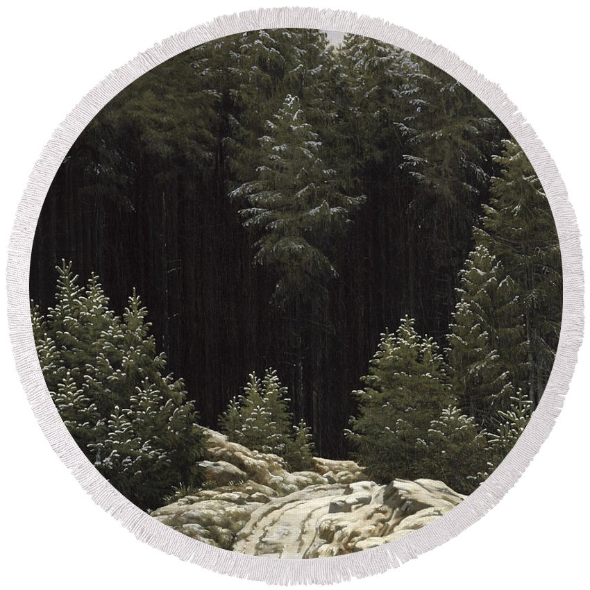 Early Round Beach Towel featuring the painting Early Snow by Caspar David Friedrich