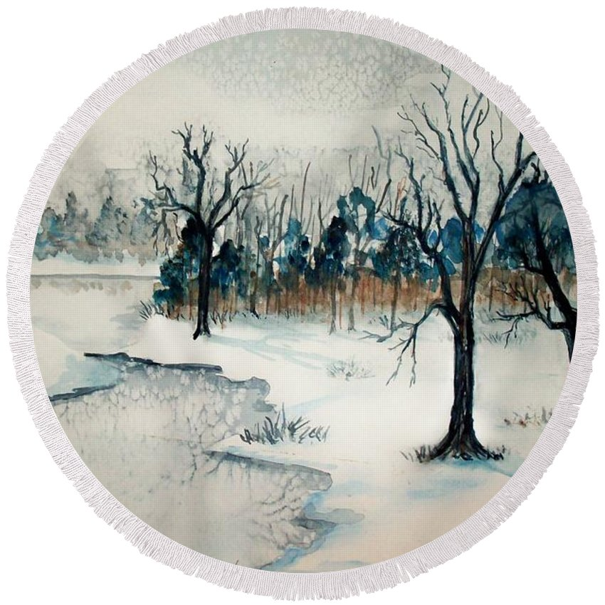 Snow Round Beach Towel featuring the painting Early Snow by Sandra McClure