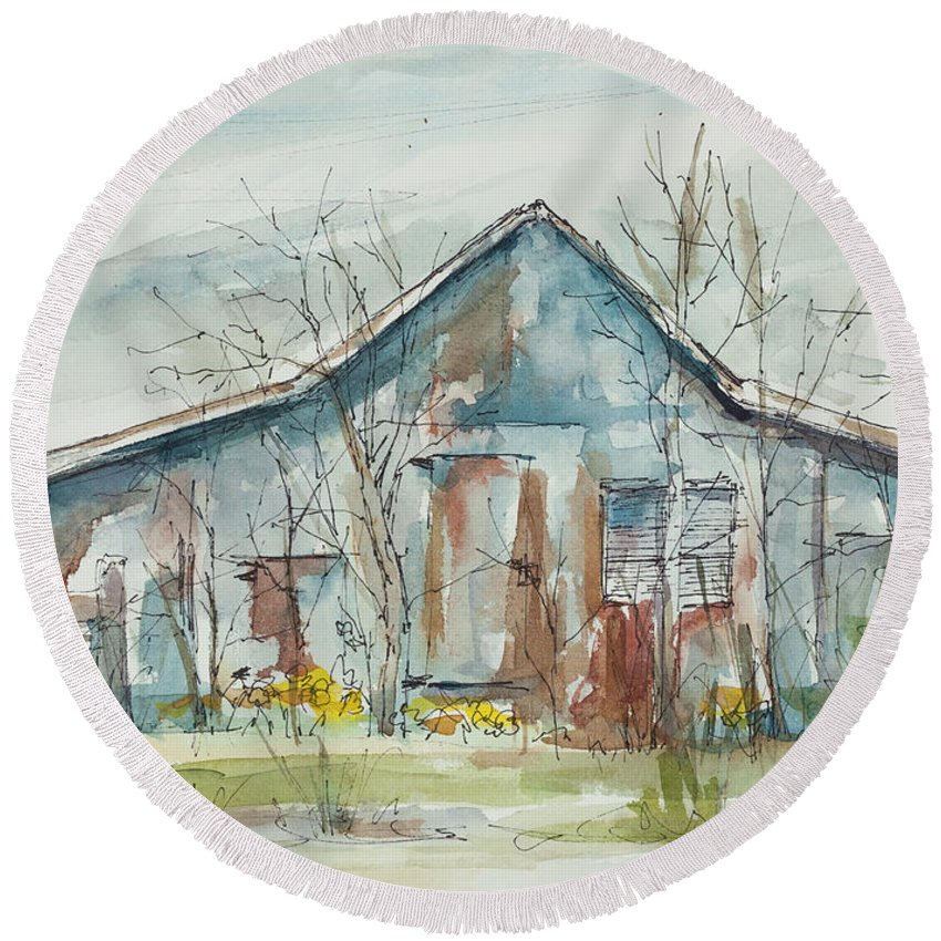 Barn Round Beach Towel featuring the painting Early Spring by Ava Obert
