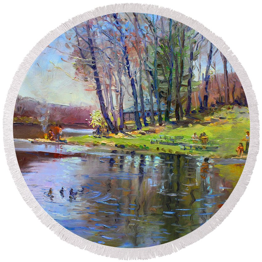Landsape Round Beach Towel featuring the painting Early Spring In Bear Mountain by Ylli Haruni