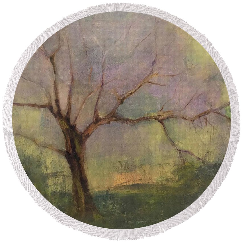 Tree Round Beach Towel featuring the painting Early Spring by Wen LePore