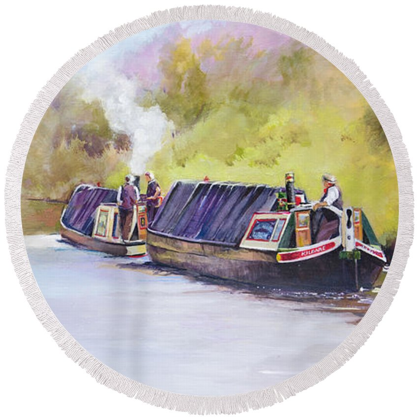 Narrow Boat Round Beach Towel featuring the painting ' Early Start' by Penny Taylor-Beardow