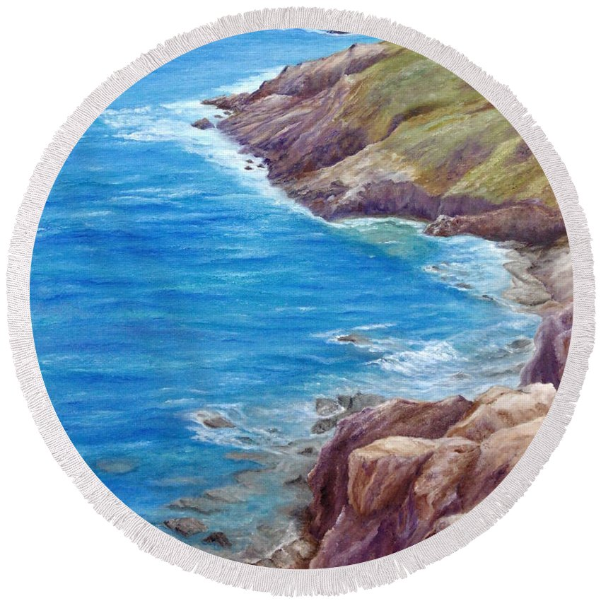 Summer Round Beach Towel featuring the painting Early Summer by Angeles M Pomata