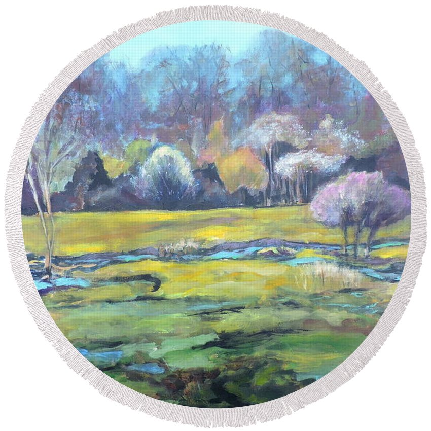 Landscape Round Beach Towel featuring the painting Early Wet Spring by Jodie Marie Anne Richardson Traugott     aka jm-ART