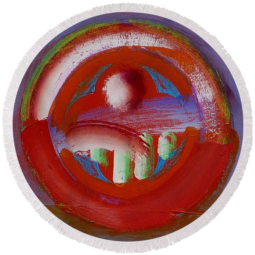 Love Round Beach Towel featuring the painting Earth Button by Charles Stuart