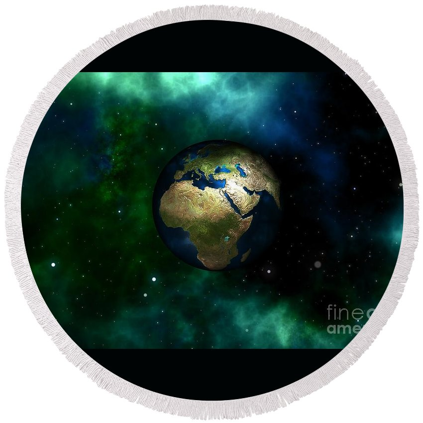 Witchcraft Round Beach Towel featuring the digital art Earth by Frederick Holiday