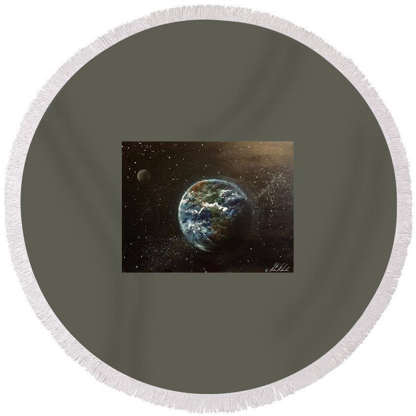 #space Round Beach Towel featuring the painting Earth From Above by Sarah Kleinhans