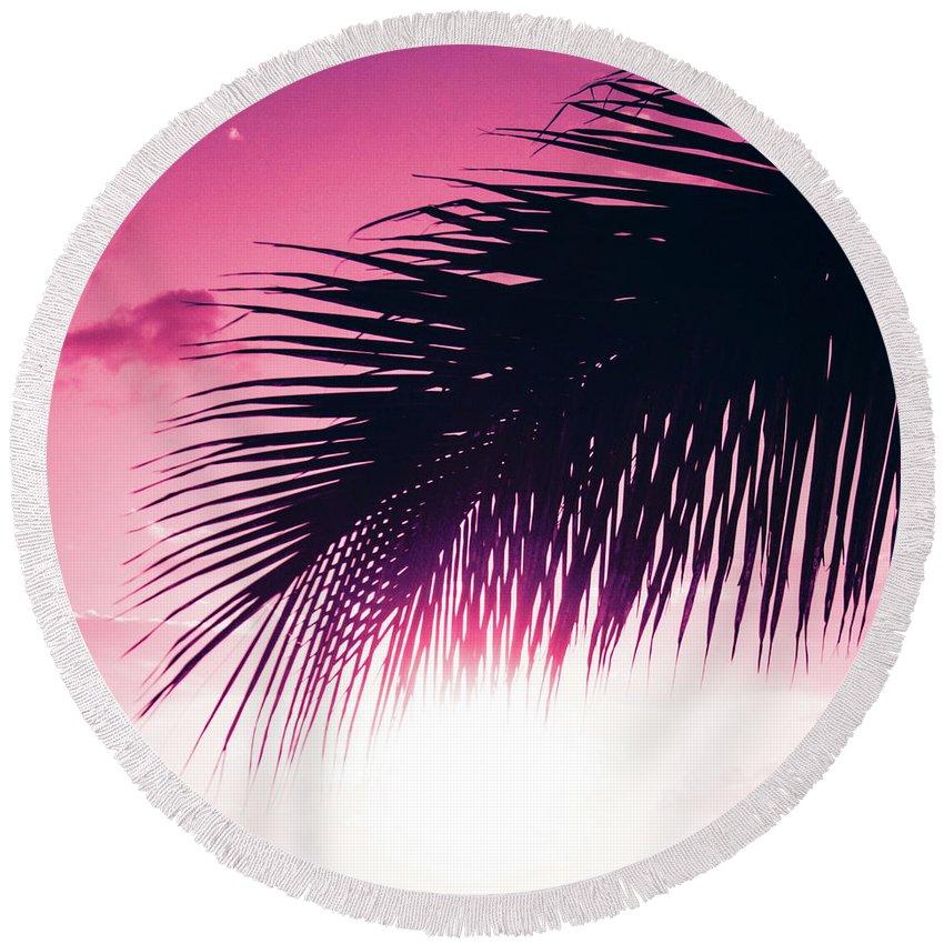 Pink Round Beach Towel featuring the photograph Earth Heart Kahakai by Sharon Mau
