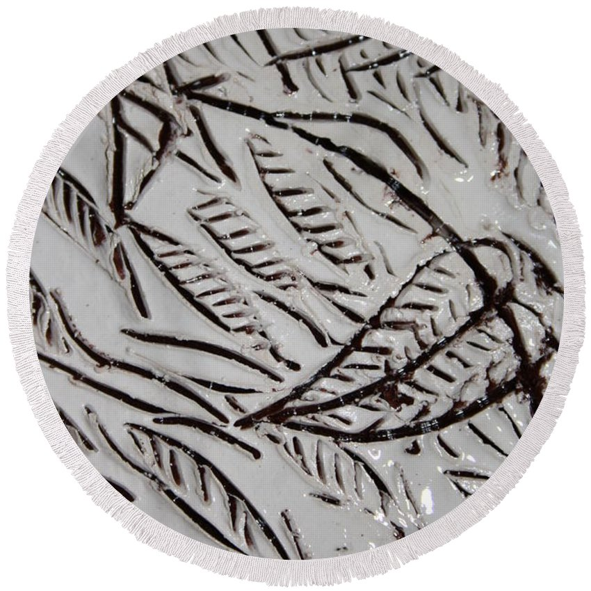 Gloria Ssali Round Beach Towel featuring the ceramic art Earth Mother by Gloria Ssali