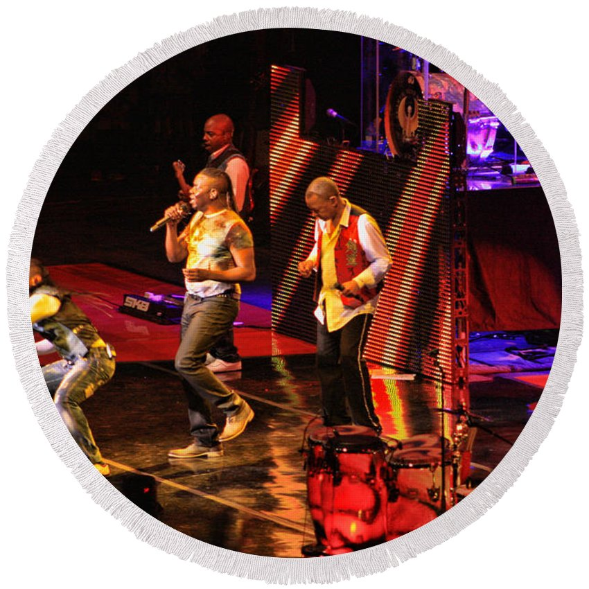 Earth Wind And Fire Round Beach Towel featuring the photograph Earth Wind And Fire by Tommy Anderson