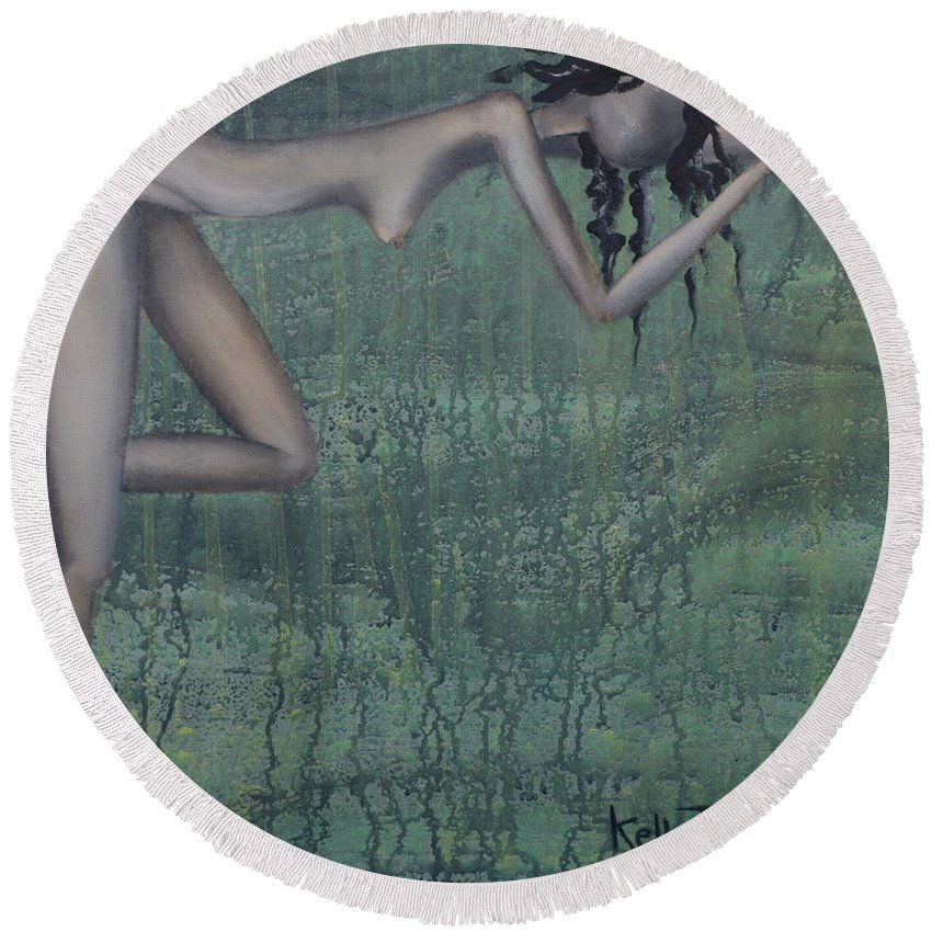 Earth Round Beach Towel featuring the painting Earth Woman by Kelly Jade King