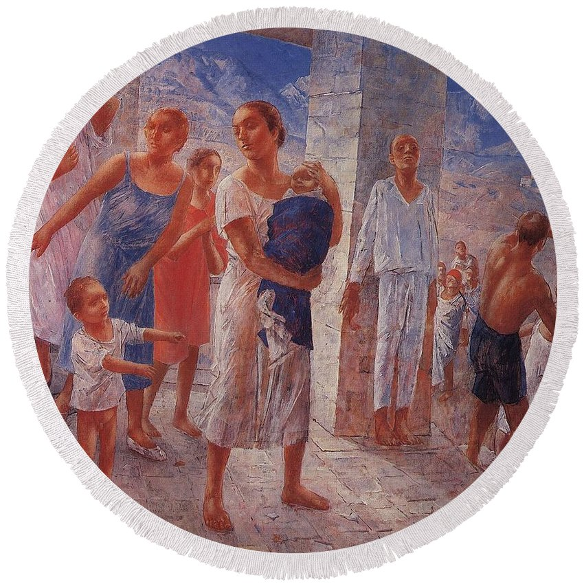 Girl Round Beach Towel featuring the painting Earthquake In Crimea Kuzma Petrov-vodkin - 1927-1928 by Kuzma Petrov-Vodkin