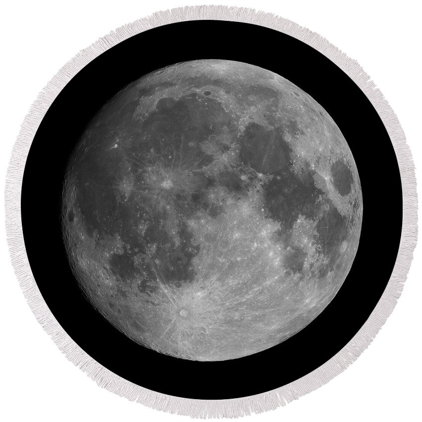 Moon Round Beach Towel featuring the photograph Earth's Moon Phase Full Moon by Lukasz Szczepanski