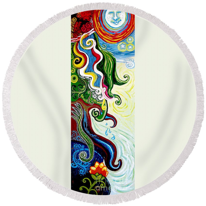Mother Earth Round Beach Towel featuring the painting Earths Tears by Genevieve Esson