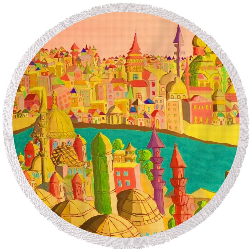 Castles Round Beach Towel featuring the painting East And West by Mimi Revencu