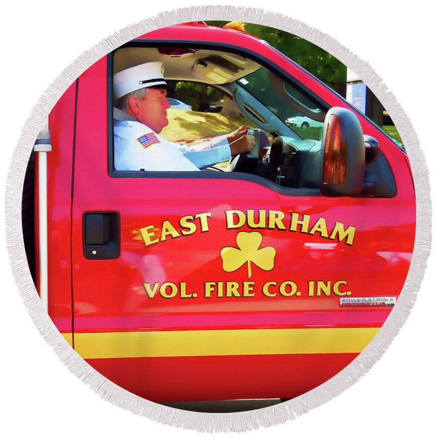 East Durham Vol. Fire Co.inc Round Beach Towel featuring the painting East Durham Vol. Fire Co.inc 1 by Jeelan Clark