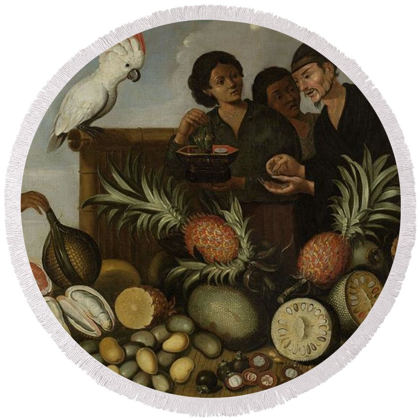 Girl Round Beach Towel featuring the painting East Indian Market Stall In Batavia, Albert Eckhout, 1640 - 1666 by Albert Eckhout