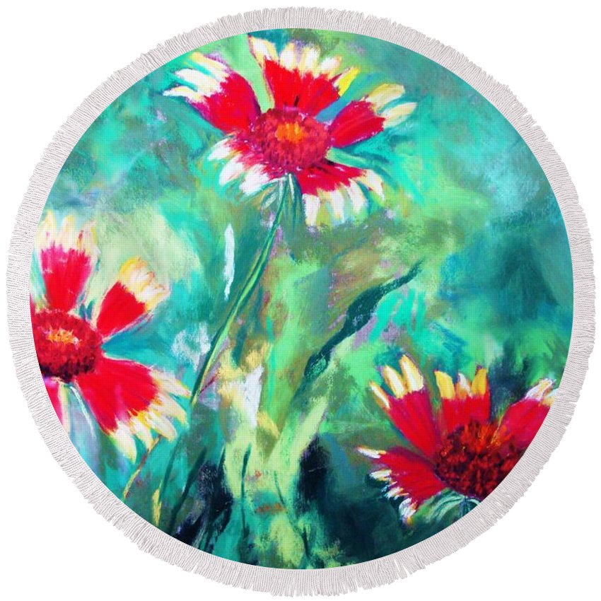 Flowers Round Beach Towel featuring the painting East Texas Wild Flowers by Melinda Etzold