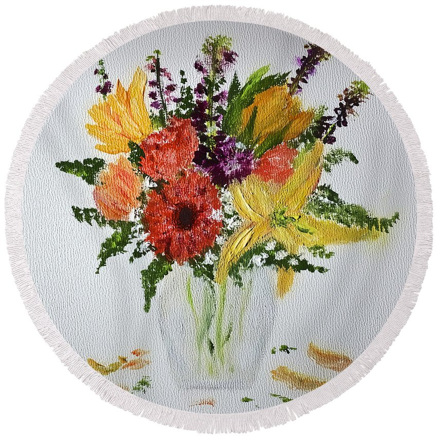 Botanical Round Beach Towel featuring the painting Easter Arrangement by Dick Bourgault