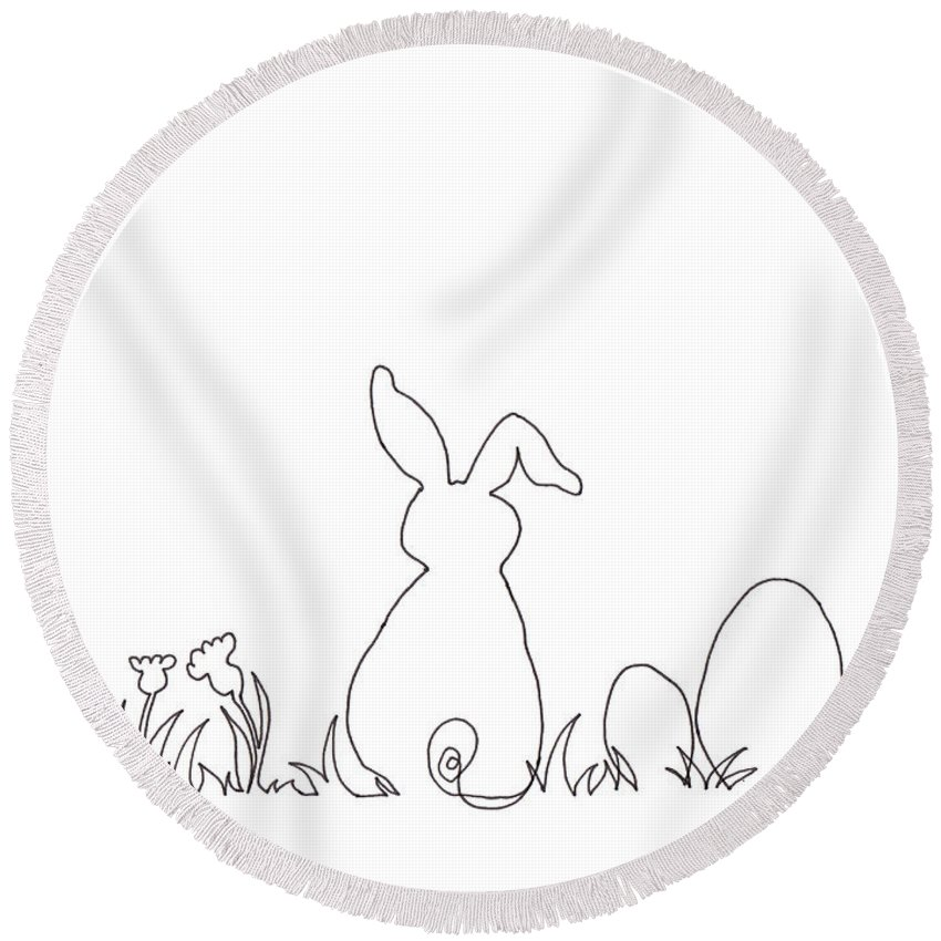 Easter Bunny Round Beach Towel featuring the drawing Easter Bunny Card Pen And Ink Drawing by Karen Kaspar