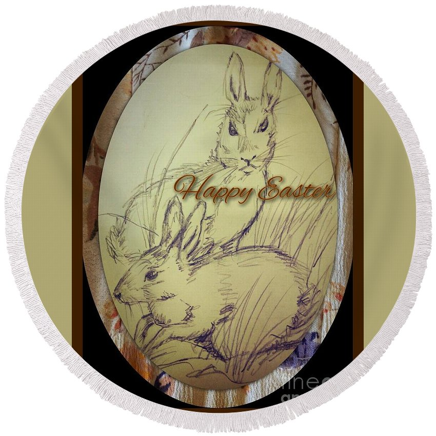 Easter Round Beach Towel featuring the mixed media Easter Bunny Greeting 5 by Joan-Violet Stretch