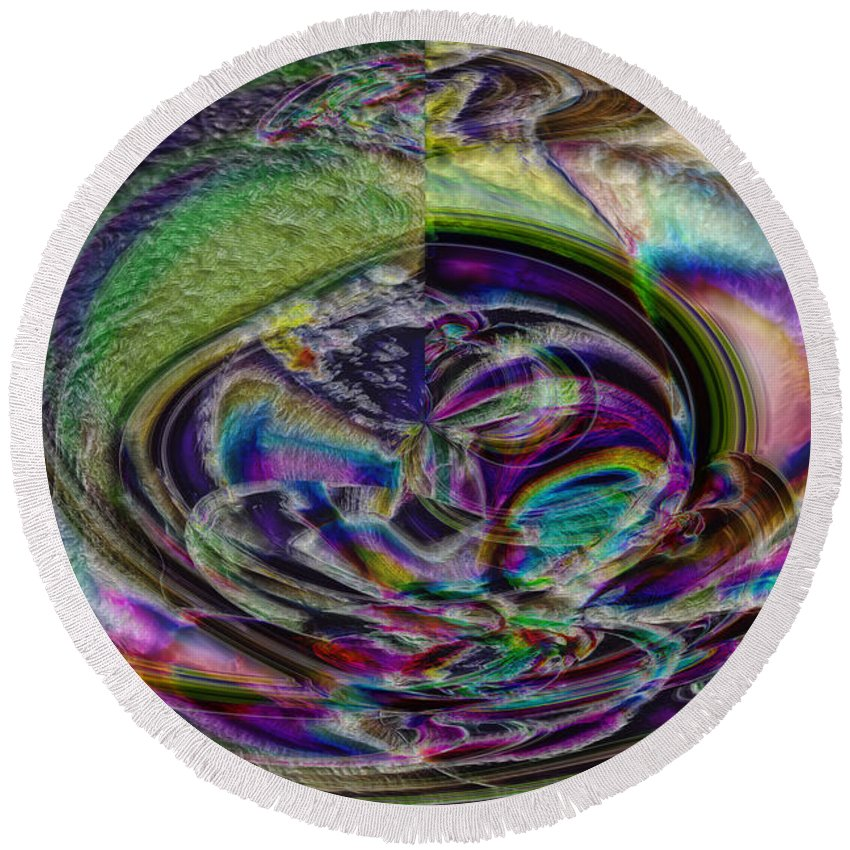 Abstract Round Beach Towel featuring the digital art Easter Eggonia by Richard Thomas