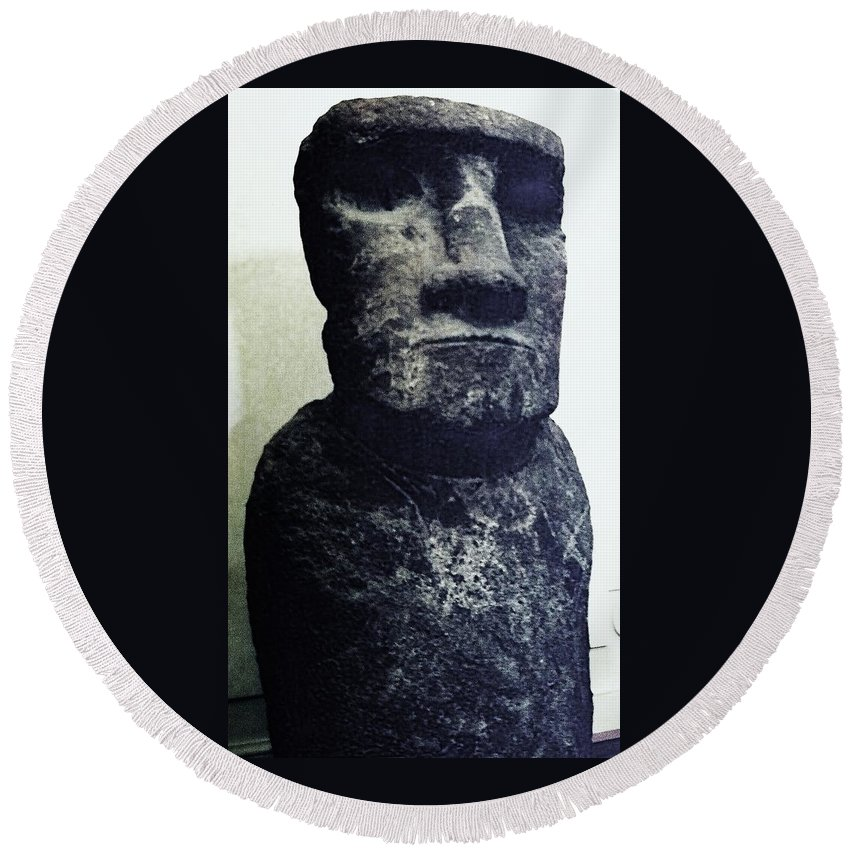 Easter Island Round Beach Towel featuring the painting Easter Island Stone Statue by Eric Schiabor