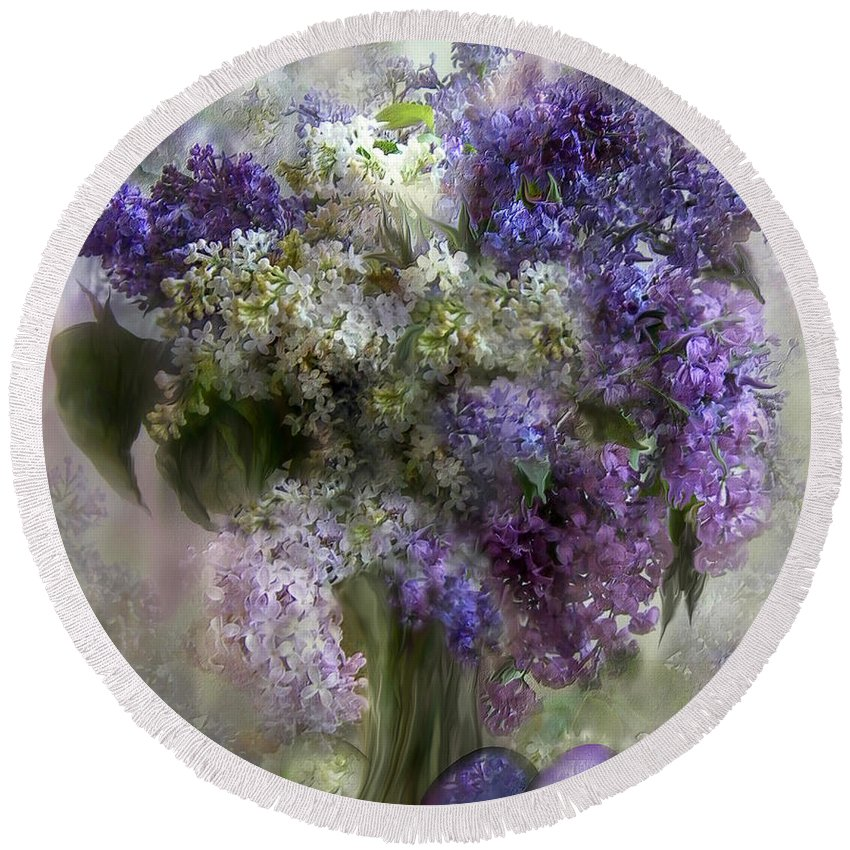 Lilacs Round Beach Towel featuring the mixed media Easter Lilacs by Carol Cavalaris