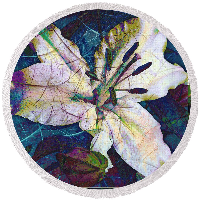 Easter Round Beach Towel featuring the digital art Easter Lily by Barbara Berney