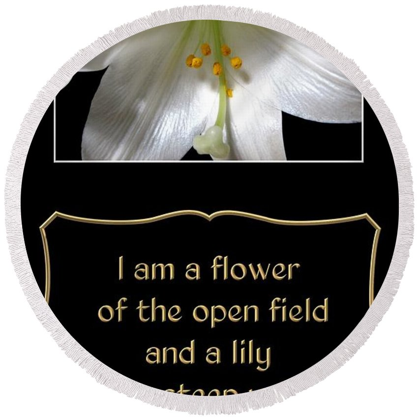 Easter Lily With Song Of Songs Quote Round Beach Towel