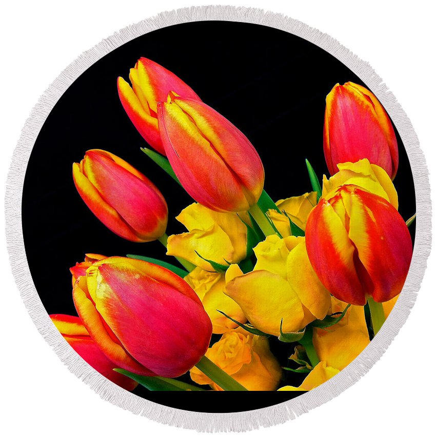 Tulip Round Beach Towel featuring the photograph Easter Tulips And Roses by Marie Hicks
