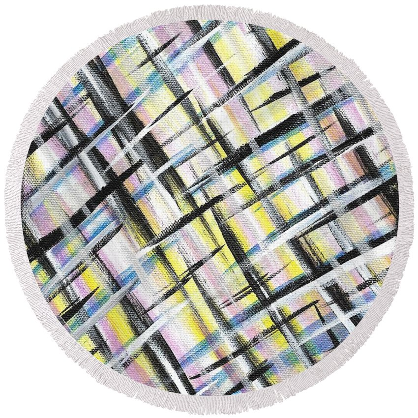 Easter Round Beach Towel featuring the painting Easter Weave by Eric Atherton