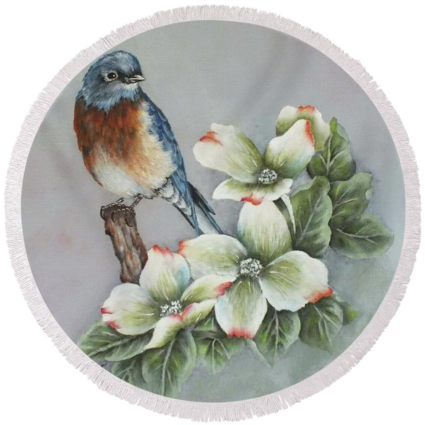 Eastern Bluebird Round Beach Towel featuring the painting Eastern Bluebird And Dogwood - Acrylic Painting by Cindy Treger