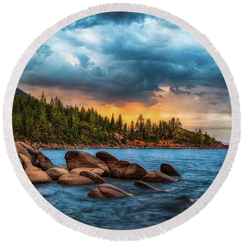 Lake Tahoe Round Beach Towel featuring the photograph Eastern Glow At Sunset by Anthony Bonafede