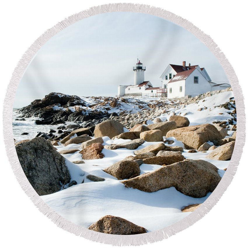 Gloucester Round Beach Towel featuring the photograph Eastern Point Light II by Greg Fortier